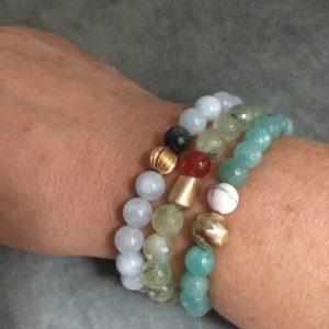 Nicole aigue-marine, quartz rutile vert, jade